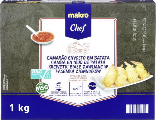 makro chef krewetki biale zawijane w pasemka ziemniakow